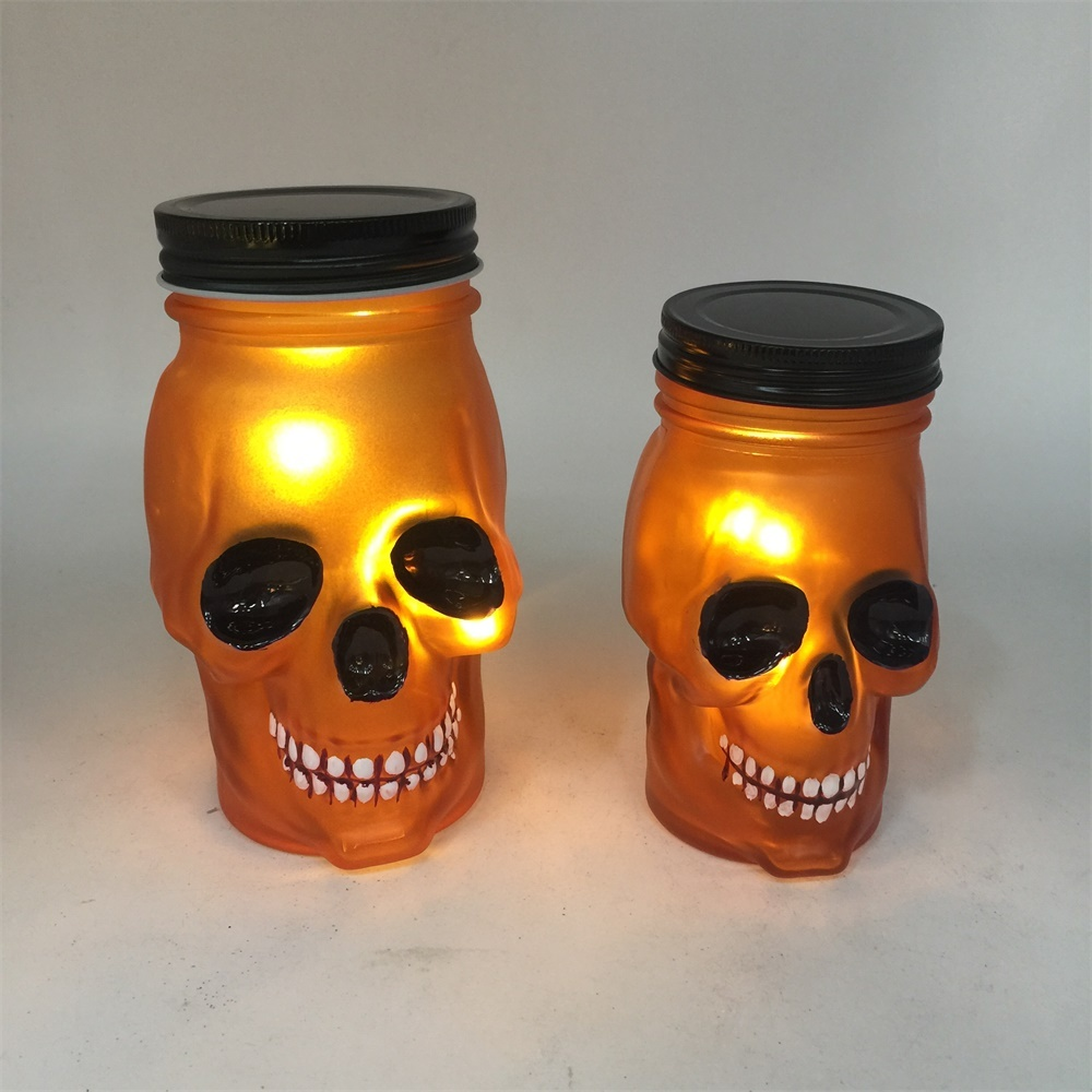 Decorative glass skull for party lighting with margnet LED light
