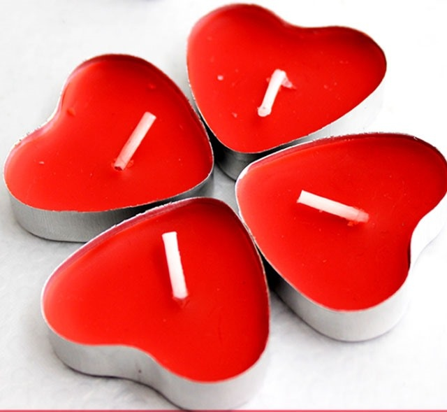 Tealight Candles Red Unscented Heart Shape Aluminum Cups Set of 10