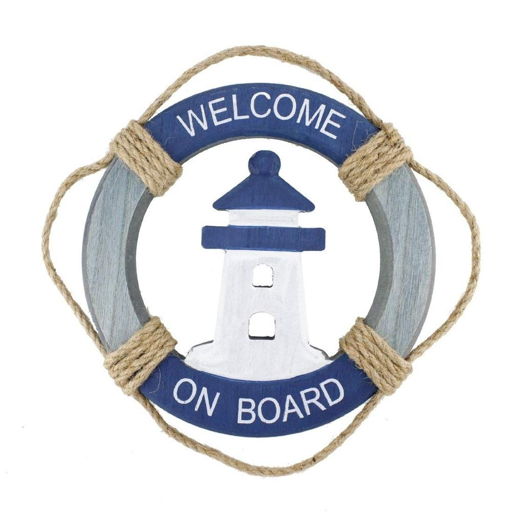 Wooden Nautical Life Ring Wall and Door Hanging Ornament Plaque Welcome Sign