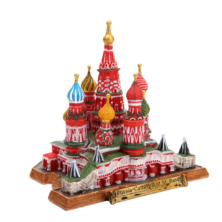 3D miniature famous building statue resin tourist souvenir gifts russia st. basil's cathedral model