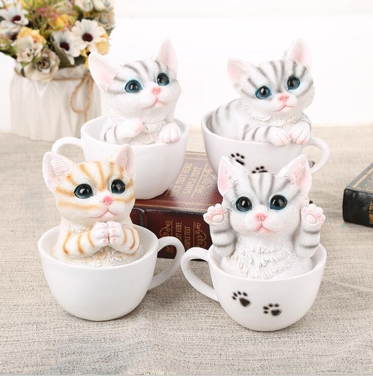 Cute little cat in cup unique resin crafts Customized handmade gifts