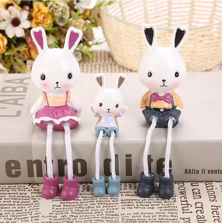 Lovely rabbit family resin crafts easter rabbit figurine home décor
