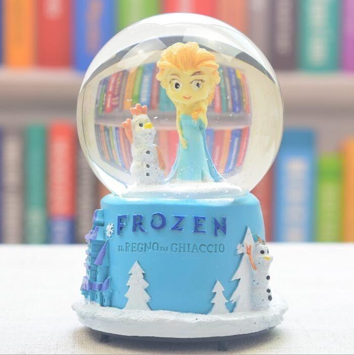 Frozen Queen Elsa LED music snow globes with snowflake