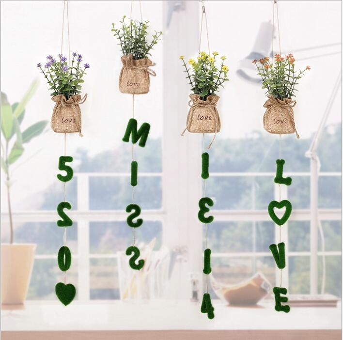 pendant artificial plant decor with love letter wall decoration