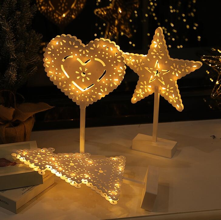 Plastic Christmas Tree/heart /star LED Night Light Creative Shape Table Lamp Indoor Decor
