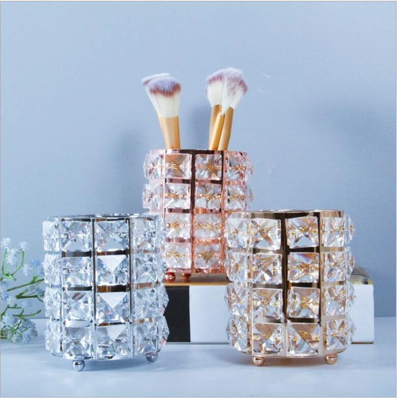 gold/sliver/rose gold makeup brush holder with crystal beaded