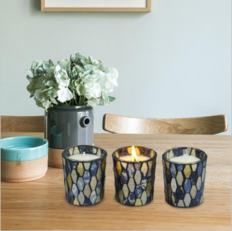 mosaic glass soybean scented candle set of 4 gift set