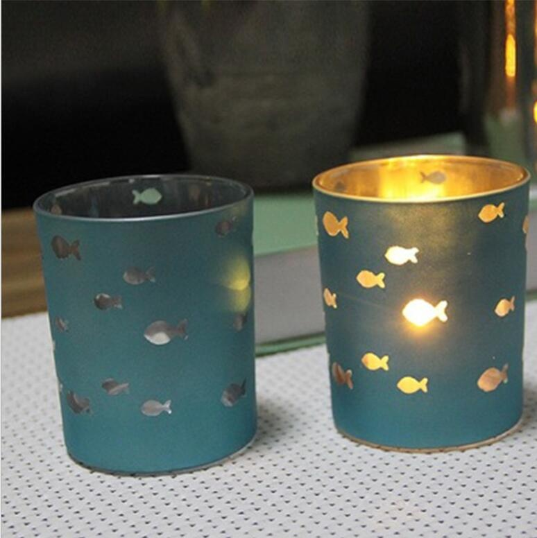 electroplate blue glass votive candle holder with hollow sea fish decor