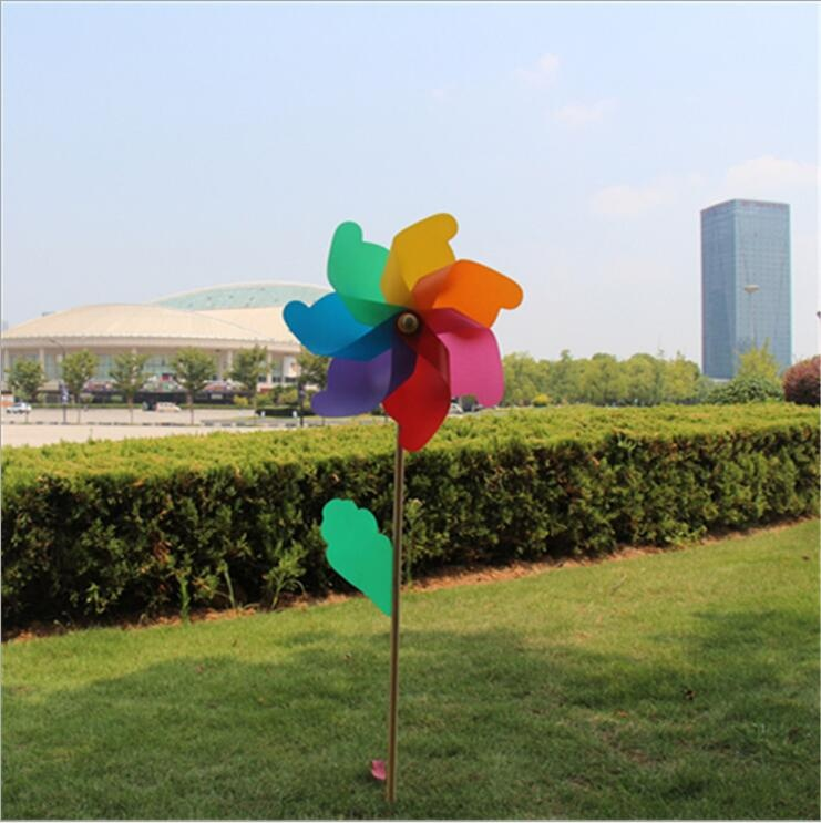 Colorful Garden Decoration Windmill with wooden stake