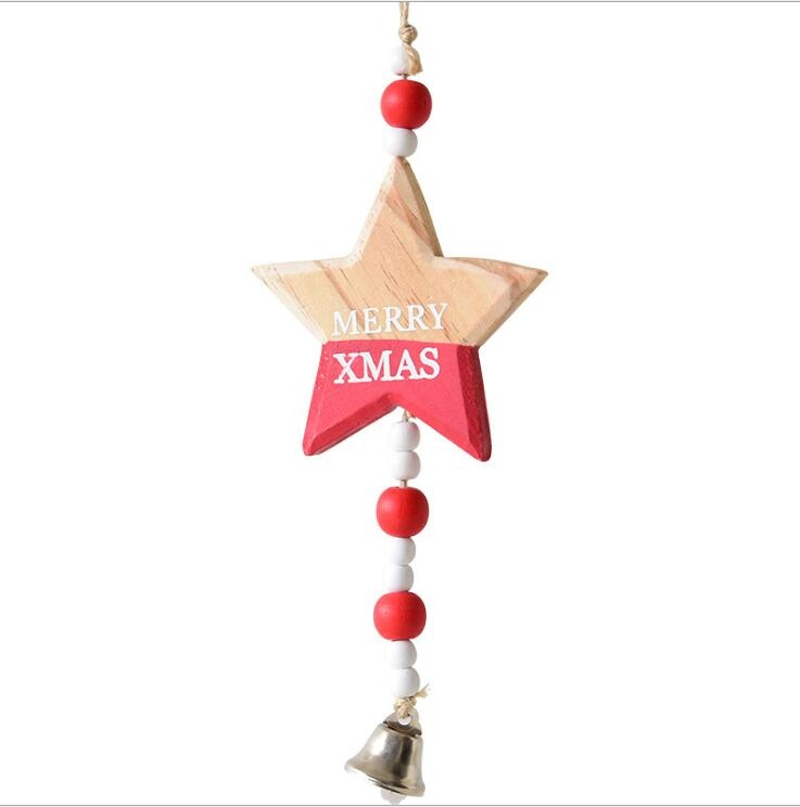 wooden craft pendant star heart christmas tree ornament for christmas party decoration