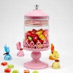 plush christmas pedestal glass rotating candy jar