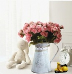 metal flower pot vase with rope decoration