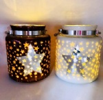 Glass hanging lantern with electroplating and lase star pattern