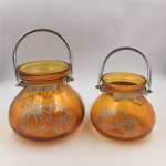 Glass honey jar with grain line for holiday decoration