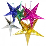 45CM Hanging Christmas Paper Star Lantern Pattern with Led Candle