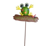 Garden Stake Colorful Metal Frog Yard Lawn Outdoor Art Decor