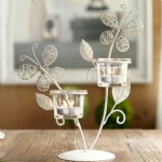 Tealight Glass Votive candle 3 holders with iron butterfly design european-style creative