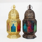 Hanging Moroccan Metal Lantern with colored Embossed Glass decoration