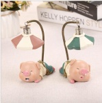 Cute Handmade Pig Figurine Resin Crafts Led pendant lamp