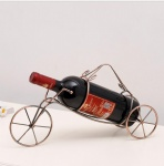Creative metal wire art wine bottle holder with handle Rickshaw Design