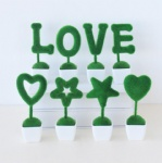 Green artificial plant set of 4 letter decor love/heart/star design table decor.