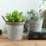 Mini Metal flower pot /garden planter with rope/metal flower pots garden bucket