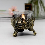 Antique Brush Gold metal hollow Candle holder with butterfly /rose design and telight cup