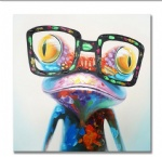 3D Abstract Canvas Handpainted  Oil Painting Pop Frog with Glasses on Canvas Wall Art decor