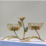 gold metal iron wire nest tealight holder with birds for wedding home decoration