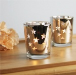 electroplating glass gold star candle holder votive tealight candle holder