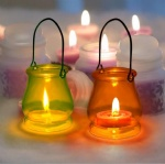 colorful special glass hurricane lantern wax candle holder