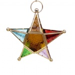 Hanging mosaic glass star shape tealight candle holder for home decor child bedroom