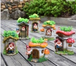 resin dwarf gnome garden Double flower pot planter