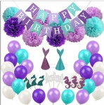 purple Summer Birthday Wedding Baby Shower Mermaid Party Decoration sets Banner Flag balloon flower