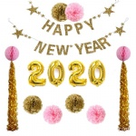 Gold pink Party Birthday new year Decoration Set