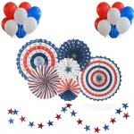 Independence Day Decorations 4th of July Patriotic Party Supplies, Star Garland Paper Fan Set