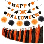 Happy Halloween banner with paper pom poms ,garlands, tassels for party decoration