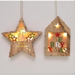 hanging gift Wooden star house with led light Pendant wall decoration for Christmas Decoration