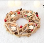 wooden wreath candle holder with tealight cup decoration